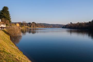 Il fiume Ticino a Sesto Calende, Sesto Calende, Varese, Lombardia, Italia