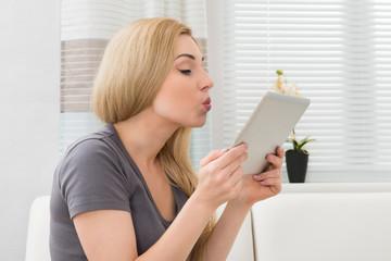 Woman Taking Selfie With Digital Tablet