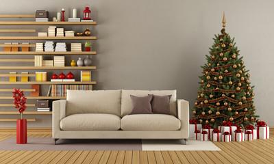 Modern lounge with christmas tree