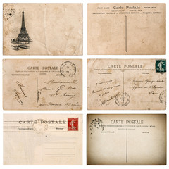 Antique french postcard  with stamp from Paris. Scrapbook elemen
