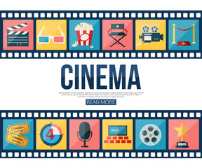 Film strips and cinema icons set for infographics, presentation