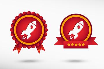 Rocket icon stylish quality guarantee badges