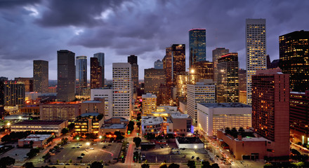 Illuminated High Rise Buildings at Night, Houston, USA