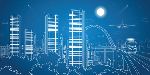 Wall Mural - City and transport illustration, night town, vector design