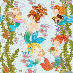 Seamless background of underwater world with cute mermaids