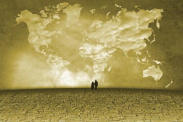 Surreal landscape with clouds in shape of world map and small figures of the elderly. Monochrome version.