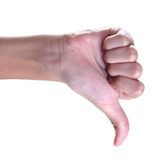 thumbs up sign against white background ,Unlike