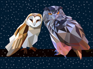 Owl set triangle low poly style. Good use for sticker design, icon, symbol, avatar, or any design. Easy to use.