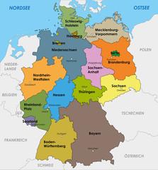 Deutschland Karte Bundesländer Landeshauptstädte Hauptstadt