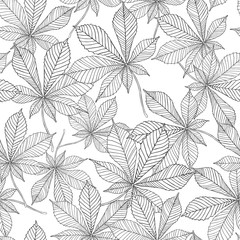 Vector seamless pattern - linear leaves of chestnut. Black on white