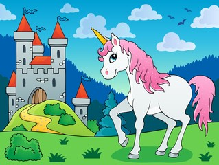 Fotobehang Pony Fairy tale unicorn theme image 5