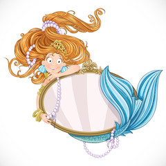 Lovely mermaid with flowing long hair holding a big mirror isola