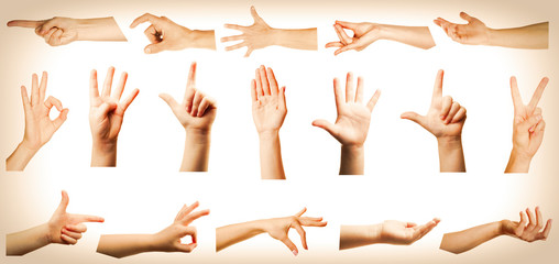 Collage of hands showing different gestures on light background