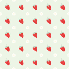 Seamless pattern with strawberry and flowers