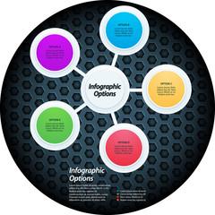 Infographic elements on honeycomb metal border