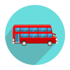 Double Decker Red Bus icon flat style