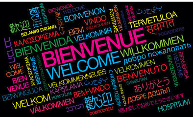 Bienvenue welcome willkommen benvenuto bienvenido nuage de mots coloré texte couleurs