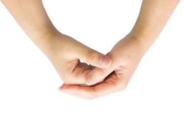 Female hand with isolated background.