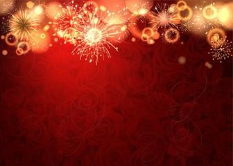 romantische Hintergrund mit Feuerwerk