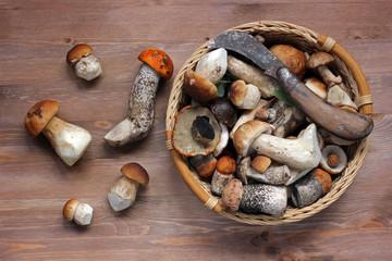Грибы на деревянном столе, вид сверху. Натюрморт с грибами.