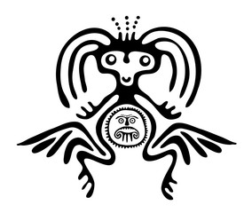 alien in native style, vector illustration