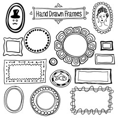 Vector hand drawn frames set in vintage style