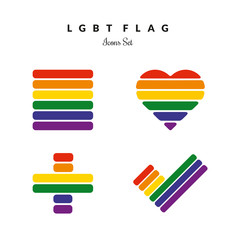 LGBT Pride Flag Rainbow Icons Set