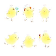 Set with six cute cartoon chickens in different poses.