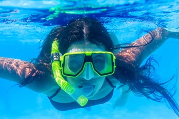 Snorkeling, snorkel, woman.