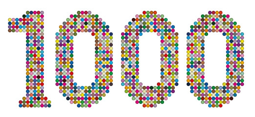THOUSAND - composed of exactly one thousand colorful balls- isolated vector illustration on white background.
