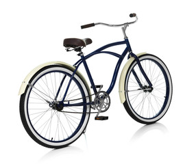 Beach cruiser isolated on white behind angle