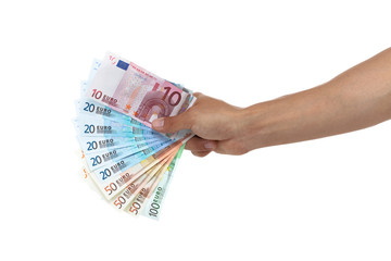 Hand holding out a fan of euro bills