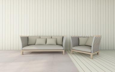 Working and living room set modern / 3D Render Image
