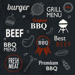 Barbecue Grill Icons and labels for any use, on a grunge backgro