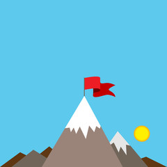 Mountain Peak with Red Flag