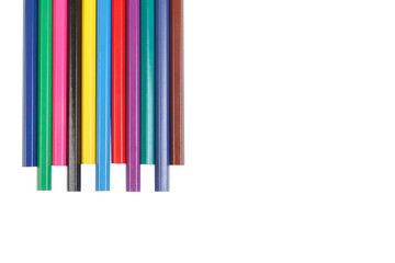 a set of colored pencils isolated on white background