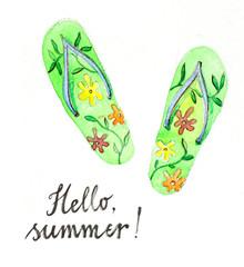 Watercolor flip flops