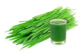 wheatgrass juice isolated on white background