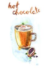 Watercolor hot chocolate