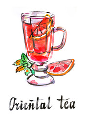 Watercolor oriental tea