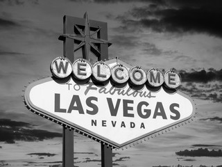Aluminium Prints Las Vegas Vintage Las Vegas Welcome Sign in Black in White