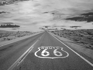 Wall Murals Route 66 Route 66 Pavement Sign Black and White