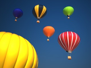 Colorful hot air balloons over blue sky , 3d illustration