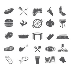 bbq and fast food web icons set flat design