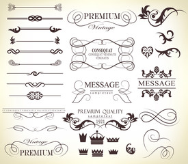 Set of calligraphic elements for design