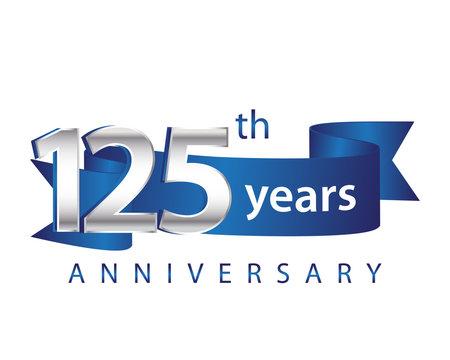 125 Years Anniversary Logo Blue Ribbon