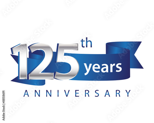 """125 Years Anniversary Logo Blue Ribbon"" fichier vectoriel ..."