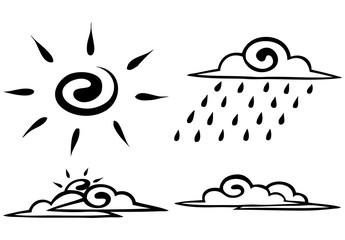 Vector. Sketch. Set. forecast icon