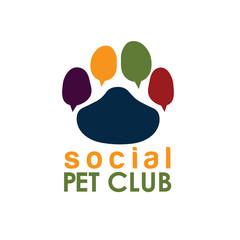 social pet club paw concept vector design template