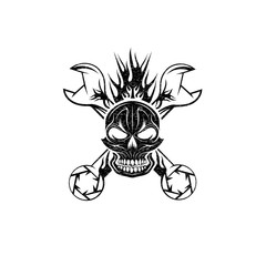 grunge crest with skull,flame and spanners